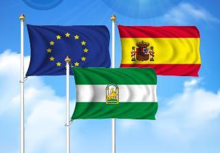 Bandera de Pack Andalucía (Unión Europea, España y Andalucía)