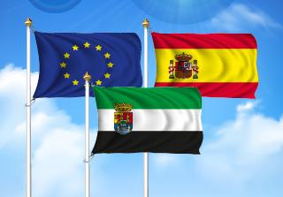 Bandera de Pack Extremadura  (Unión Europea, España y Extremadura)
