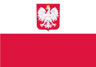 Bandera de Polonia con escudo