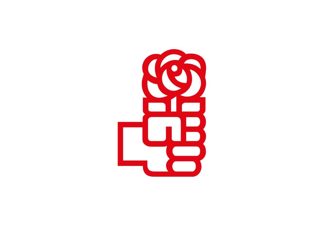 Bandera de PSOE Logo Blanco